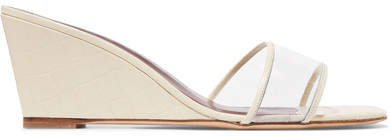 Billie Croc-effect Leather And Pvc Wedge Sandals - White