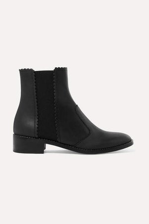 Scalloped Leather Chelsea Boots - Black