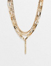 ASOS DESIGN necklace with star and eye tag pendant in gold tone | ASOS