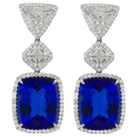 GIA Certified Tanzanite Diamond Gold Platinum Earrings For Sale at 1stDibs