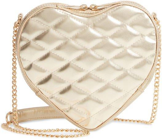 Violet Quilted Heart Vegan Leather Crossbody Bag
