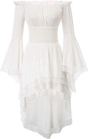 Amazon.com: KANCY KOLE Women's Retro Medieval Renaissance Dress Off Shoulder Long Sleeve Victorian Dress Costume (White,XL): Clothing