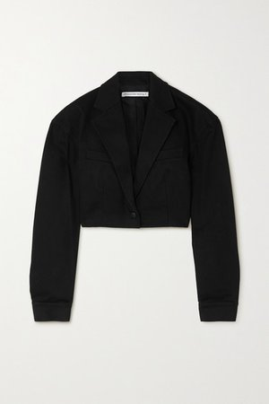 Cropped Denim Blazer - Black
