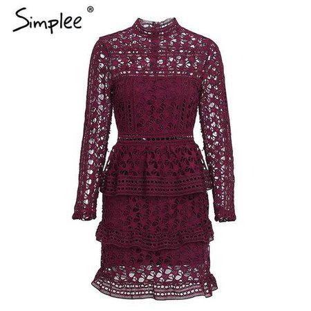 Burgundy Hollow Out Lace Dress