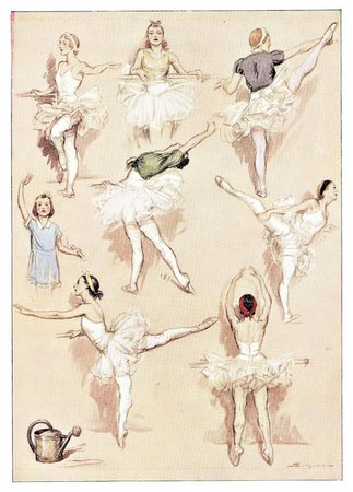 Matted Pair-Ballet Dance Exercise Vintage French prints : YoshaGraphics | Ruby Lane