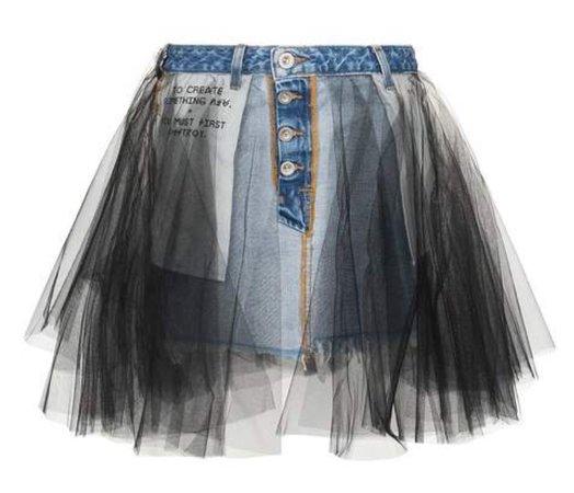 short tulle denim skirt