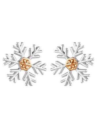 Amazon.com: Disney Frozen Snowflake Stud Earrings in Sterling Silver with Pink Gold Plating: Jewelry