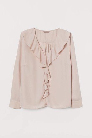 H&M+ Flounced V-neck Blouse - Pink