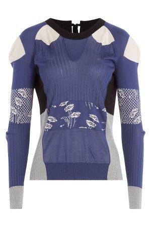 Silk Patchwork Pullover-Cardigan Gr. M