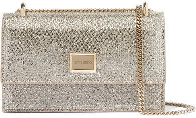 Leni Glittered Leather Shoulder Bag - Silver