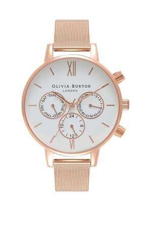 Olivia Burton Chrono Detail 38mm White Dial Rose Gold Case Rose Gold Mesh Strap Watch