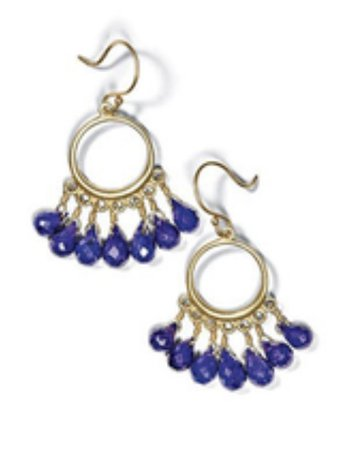 royal blue beaded drop dangle earrings