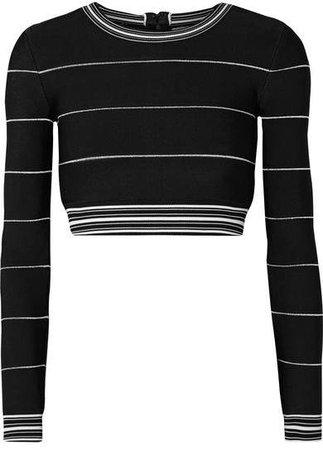 Cropped Striped Bandage Top - Black