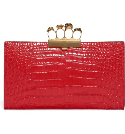 Alexander McQueen Four-Ring Knuckle Clasp Croc Embossed Leather Clutch | Nordstrom
