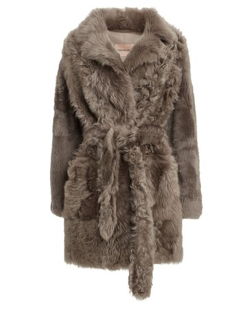 Yves Salomon | Belted Curly Shearling Coat | INTERMIX®