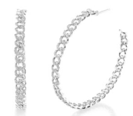 """White Gold """"Link"""" Hoops"""