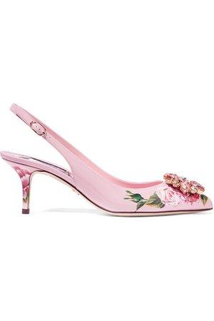 Dolce & Gabbana | Crystal-embellished floral-print patent-leather slingback pumps | NET-A-PORTER.COM