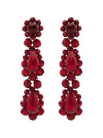 Simone Rocha, Red Blood Crystal Drop Earrings