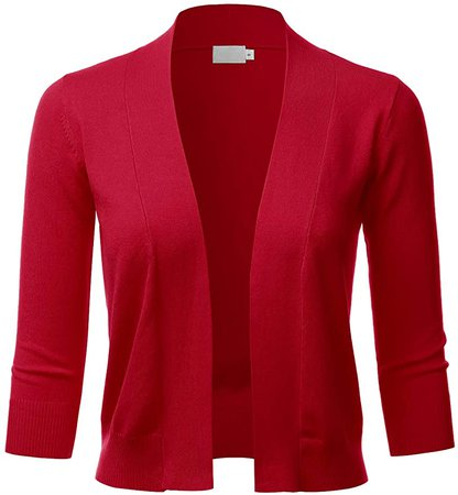 LALABEE Women's Classic 3/4 Sleeve Open Front Cropped Bolero Cardigan-RED-M at Amazon Women's Clothing store