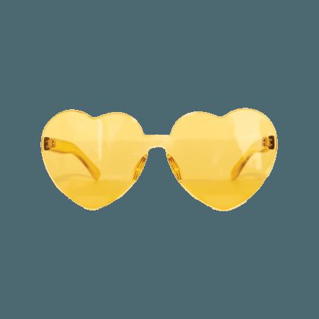 Yellow Heart Shaped Sunglasses