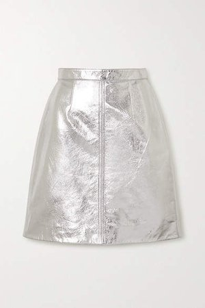 Metallic Cracked-leather Midi Skirt - Silver