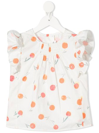 Shop white Bonpoint watercolour cherry ruffle blouse with Express Delivery - Farfetch
