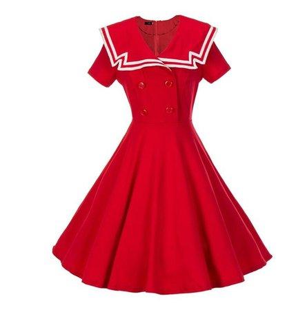 Vintage Dresses 50s 60s Solid Dark Blue Knee Length Button Women Summer Dress Casual Sailor Collar Style Retro Dress | Wish