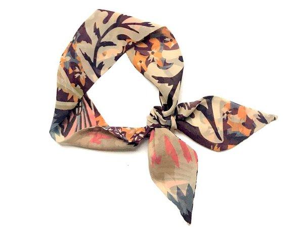 Short Skinny Neck Scarf Floral Ponytail Hair Head Wrap Scarf | Etsy