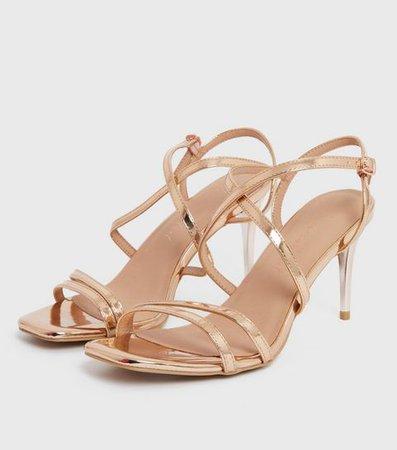 Rose Gold Metallic Strappy Stiletto Heel Sandals | New Look
