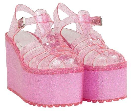 Pink Glitter Jelly Heels