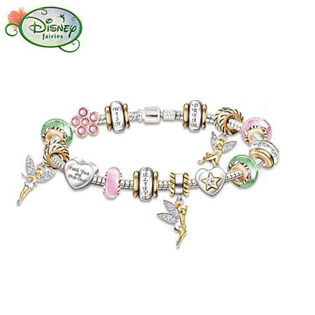 Sterling Silver Tinker Bell Charm Bracelet With Crystals | Disney jewelry, Tinkerbell, Jewelry