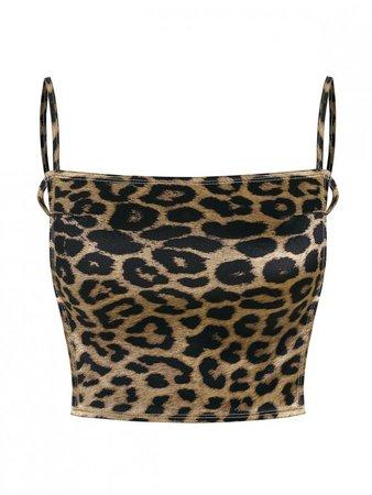 [34% OFF] 2020 Cropped Tie Back Leopard Cami Top In LEOPARD | ZAFUL brown