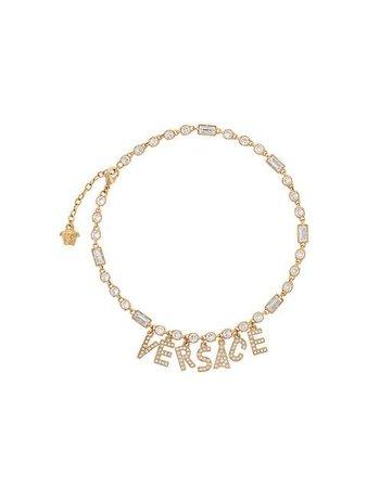 Versace Crystal Logo Pendant Necklace - Farfetch