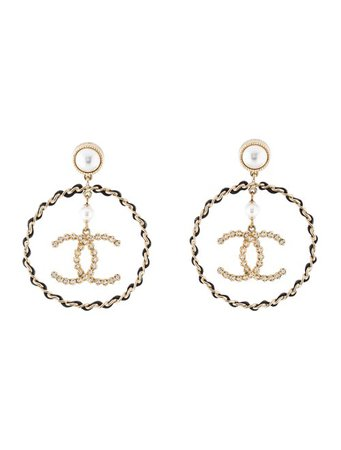 Chanel Faux Pearl, Leather & Strass CC Drop Earrings - Earrings - CHA304351 | The RealReal