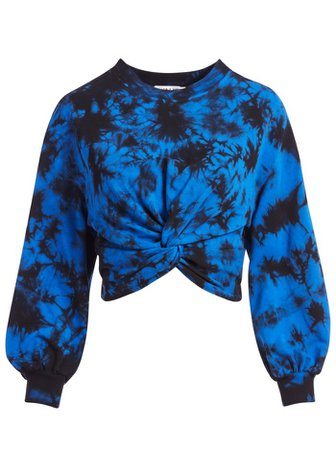 MARCELLE TIE DYE TOP in NAVY/BLACK   Alice and Olivia