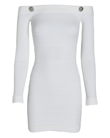 Balmain Off-The-Shoulder Ribbed Mini Dress | INTERMIX®