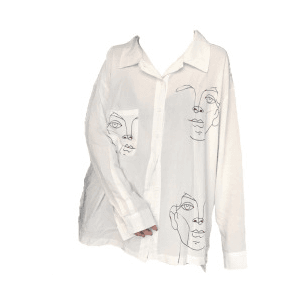 White Shirt Button Up Top PNG