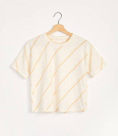 Striped Slub Jersey Tee | Lou & Grey white