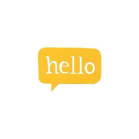 Hello Yellow Speech Bubble Text