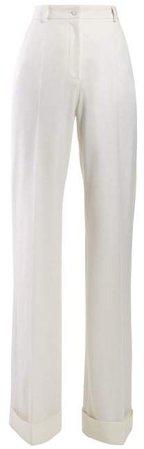 High Waist Wide Leg Wool Blend Trousers - Womens - White