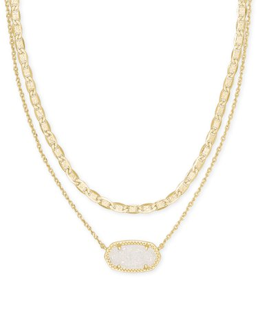 Elisa Gold Multi Strand Necklace in Iridescent Drusy | Kendra Scott
