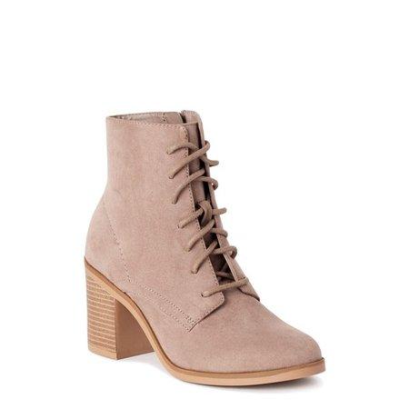 Time and Tru - Time and Tru Lace Up Heel Bootie (Women's) - Walmart.com - Walmart.com