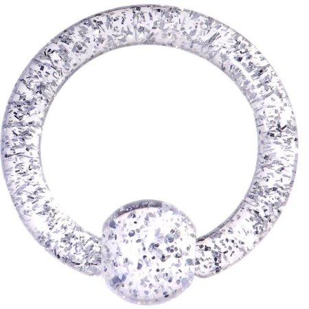 8 Gauge Clear Glitter Ball Captive Ring – BodyCandy