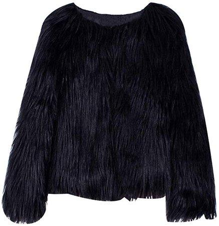 EVEDESIGN Women's Shaggy Faux Fur Coats Solid Color Long Sleeve Short Outwear Coat Jacket at Amazon Women's Coats Shop
