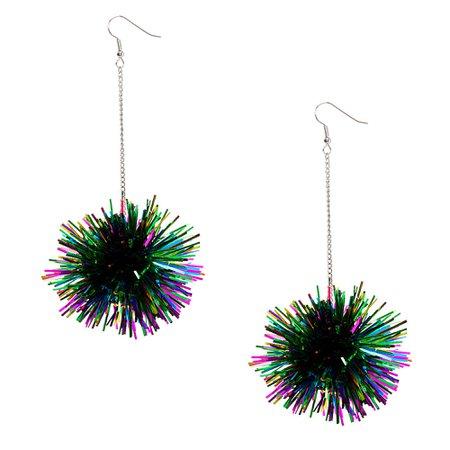 "Silver 4"" Rainbow Tinsel Pom Drop Earrings $4.99"