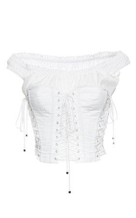 DOLCE & GABBANA Cotton Poplin Off-The-Shoulder Corset Top