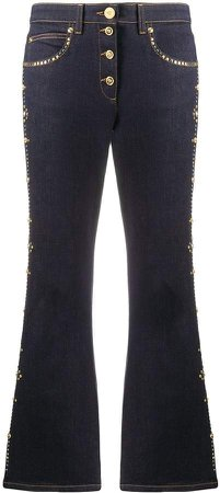 Studded Cropped Flares Trousers