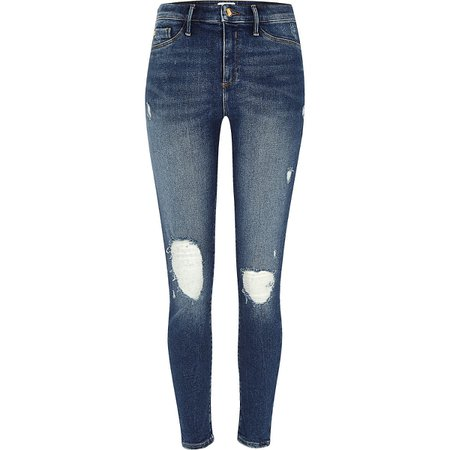 Mid blue Molly ripped jeggings | River Island