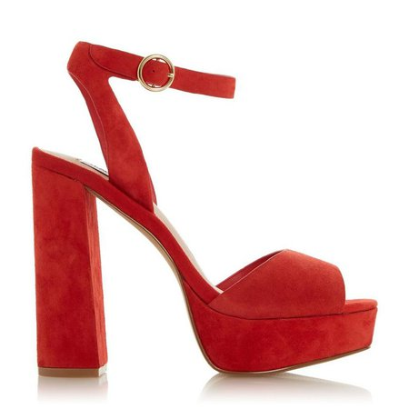 STEVE MADDEN - Madeline Sm - Red Suede Platform Heel Sandal