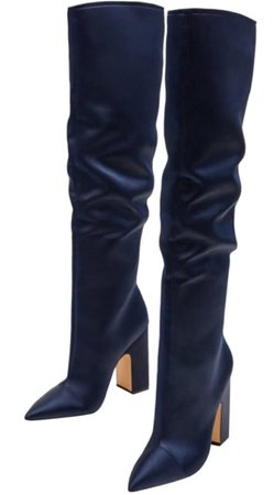 Navy Blue Knee High Boots